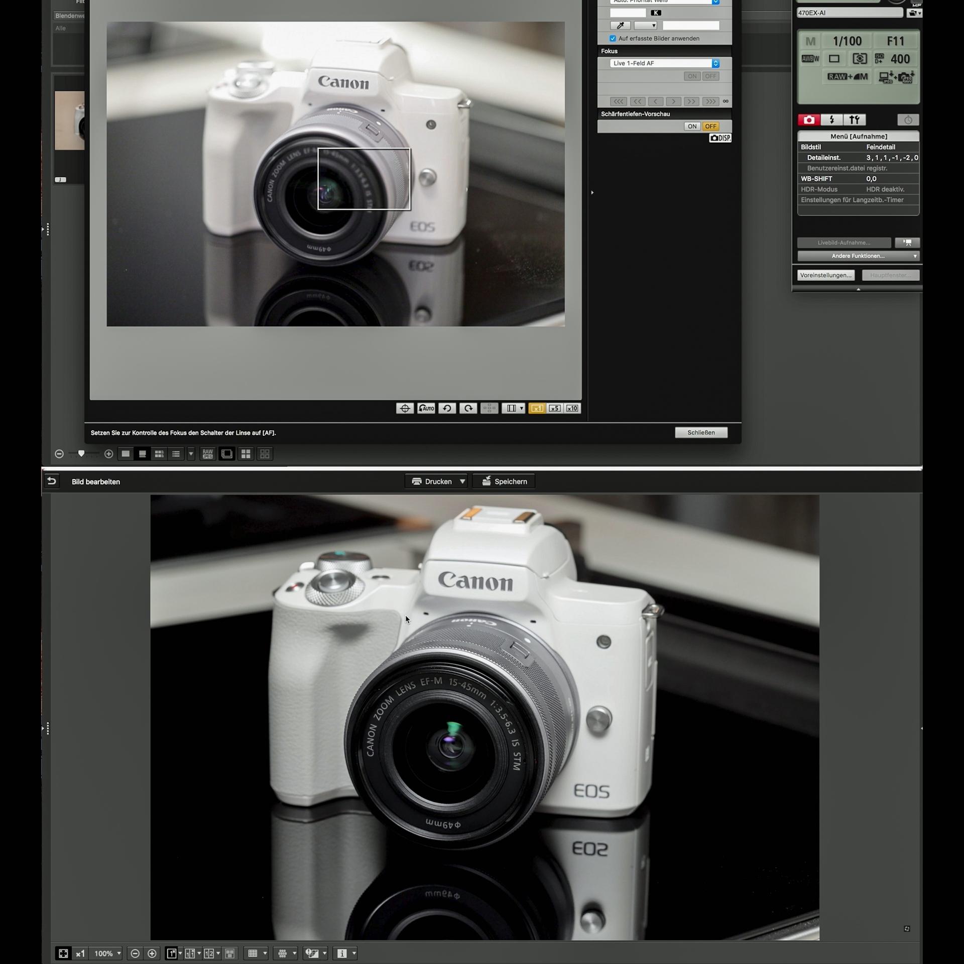 Produktfoto mit Speedlite 470EX-AI und Spiegelfläche